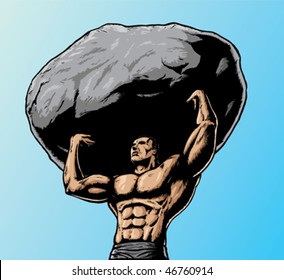 Muscular man lifting boulder over head.  With vector, boulder is on a separate layer and can be removed.