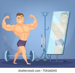 Muscular Man Posing A Front Of Mirror. Bodybuilder Standing In Static Pose. Bodybuilder  Cartoon