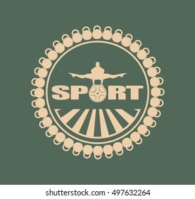 Muscular man posing. Vector silhouette. Bodybuilding coat of arms. Sporty style stamp