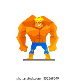 Muscular man shows his strength vector illustration
