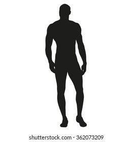 Muscular man stands, rippling athlete, sprinter, hero. Vector silhouette