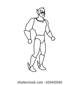 muscular man superhero in mask suit boots gloves standing vector illustration