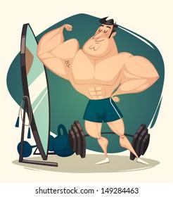 Muscular man. Vector illustration.