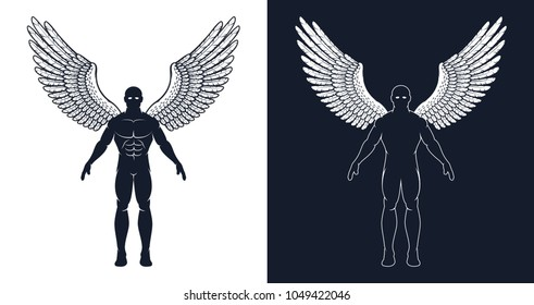 Muscular man with wings is like a superhero or a dark angel. Silhouette of an athletic men.