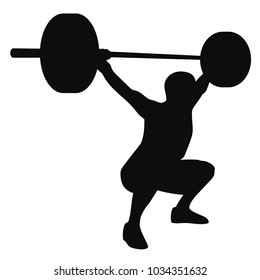 Muscular man-weightlifter doing squat and raising the barbell to overhead position  isolated on white. Vector illustration male silhouette.
