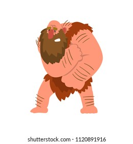 Muscular primitive caveman in loincloth, stone age prehistoric man character cartoon vector Illustration on a white background