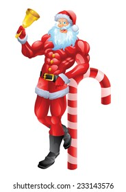 Muscular Santa Claus leaning on candy cane