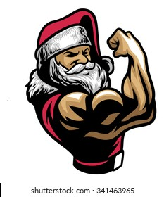 muscular santa claus show his bicep arm