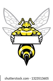 muscular wasp hornet holding the banner