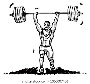 A muscular weightlifter hoisting a barbell over his head. Hand drawn vector illustration.