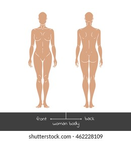 Muscular Young Woman From Front And Back View Healthy Female Body Shapes Outline Vector Realistic