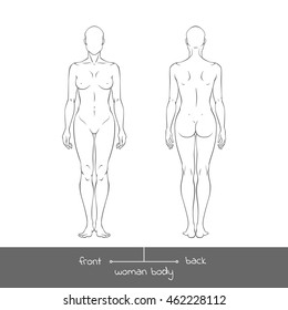 Muscular young woman from front and back view. Anatomy of Healthy female body shapes outline  vector illustration with the inscription: front and back. Human natural, realistic figure in linear style
