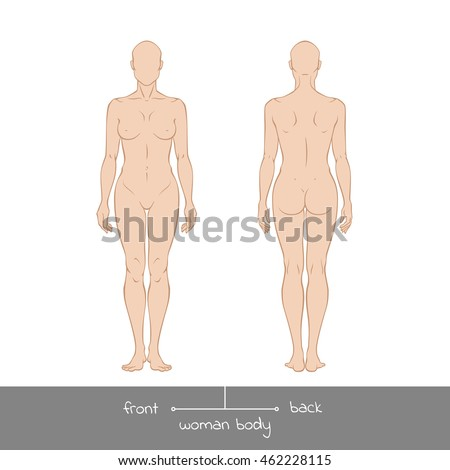 Muscular Young Woman From Front And Back View Healthy Female Body Shapes Outline Vector Illustration