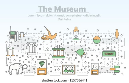 Museum advertising poster banner template. Ancient Egypt artifacts, art museum exhibits etc. Vector thin line art flat style design elements, icons for website banners and printed materials.