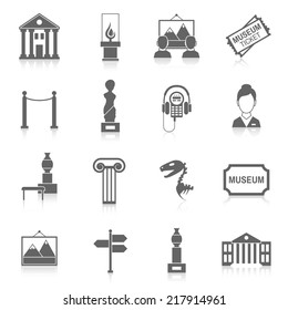 Museum building artistic exhibition icons black set isolated vector illustration