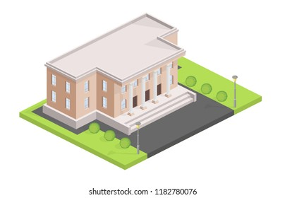 Museum building isometric vector illustration. Isolated municipal or administrative house or city hall modern or old historic facade design of bank or college and university