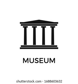 Museum building. Simple flat museum icon. Vector illustration