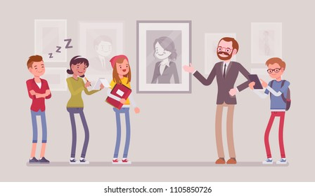 Museum excursion trip. Group of school childern, students watching and listening educational lecture about historical, scientific, artistic, or cultural objects. Vector flat style cartoon illustration