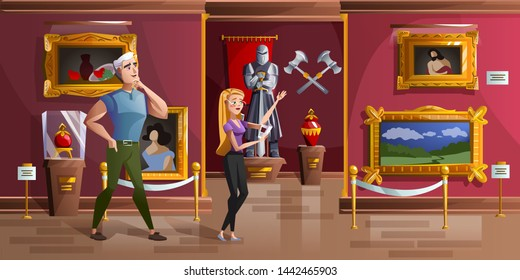 Museum exhibition room cartoon vector illustration. Palace interior or art gallery of medieval castle, visitors in hall with ancient portraits, knight armor statue and ancient weapons, game background