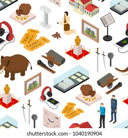 Museum Exhibits Galleries Seamless Pattern Background on a White Isometric View Include of Ticket, Sculpture, Statue, Amphora and Dinosaur. Vector illustration of Exhibition Gallery