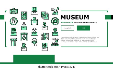 Museum Gallery Exhibit Landing Web Page Header Banner Template Vector. Museum Building And Paint, Sculpture And Statue, Audio Guid Player And Metal Detector Illustration