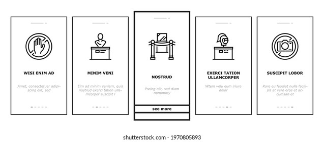 Museum Gallery Exhibit Onboarding Mobile App Page Screen Vector. Museum Building And Paint, Sculpture And Statue, Audio Guid Player And Metal Detector Illustrations