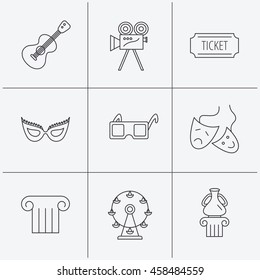 Museum, guitar music and theater masks icons. Ticket, video camera and 3d glasses linear signs. Entertainment, antique column icons. Linear icons on white background. Vector