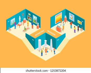 Museum Hall Interior with Furniture Isometric View Include of Column, Artifact, Picture, Visitor, Exposition and Excursion. Vector illustration