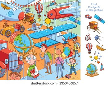 Museum of the History of Transport, Aviation and Technology. Find 10 objects in the picture. Puzzle Hidden Items. Funny cartoon character. Vector illustration