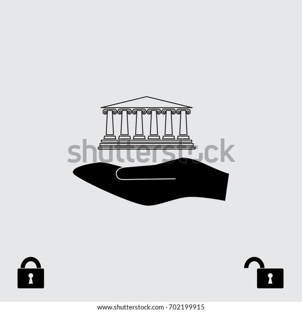 Museum icon, architectural element vector illustration