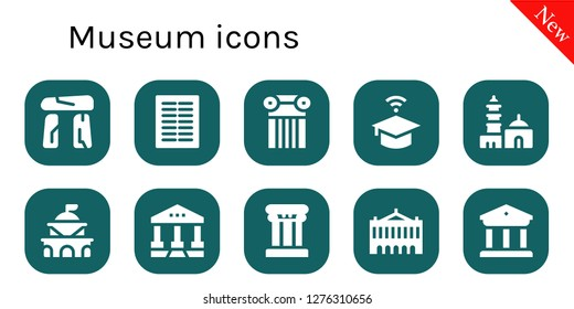 museum icon set. 10 filled museum icons. Simple modern icons about  - Dolmen, Columns, Column, University, Qutb minar, Government, Courthouse, Palais garnier, Museum