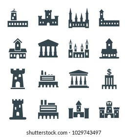 Museum icons. set of 16 editable filled museum icons such as castle, court