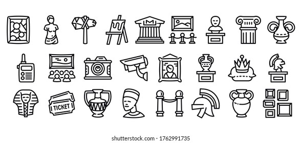 Museum icons set. Outline set of museum vector icons for web design isolated on white background