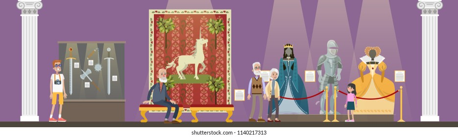Museum interior. People looking at famous ancient exhibits. Collection of clothing and weapon. Idea of history and education. Isolated vector flat illustration