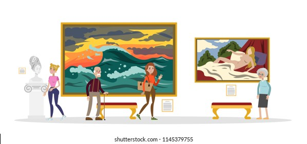 Museum interior. People looking at famous classical exhibits. Collection of famous paintings. Idea of history and education. Isolated vector flat illustration