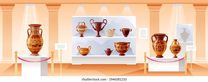 Museum interior. Vector ancient art illustration. Gallery exhibition. Old hall with antique pillar inside. Museum background with greek, roman clay crockery. Historical cartoon amphora, pot, jar, vase