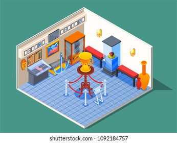 Museum isometric composition with view of museum room with specimen pictures and pieces of antique furniture vector illustration