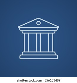 Museum line icon for web, mobile and infographics. Vector light blue icon isolated on blue background.