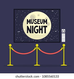 Museum night. Cultural event.  Golden stanchions.  Full moon. Flat editable vector illustration, clip art
