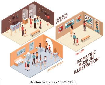 Museum set of isometric compositions with historical exhibition, ancient tools exposition, art gallery isolated vector illustration