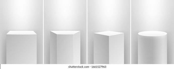 Museum stage. Realistic cubes podium, 3d exhibit displays. Gallery geometric blank product stands. Spotlight illuminates pedestal vector set