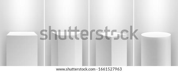 Museum stage. Realistic cubes podium, 3d exhibit displays. Gallery geometric blank product stands. Spotlight illuminates pedestal vector set