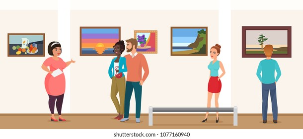Museum visitors people in art exhibition gallery museum taking tour with guide and looking pictures photos vector illustration.