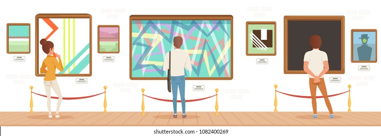 Museum visitors standing in modern art gallery in front of colorful paintings, people attending museum horizontal vector Illustration