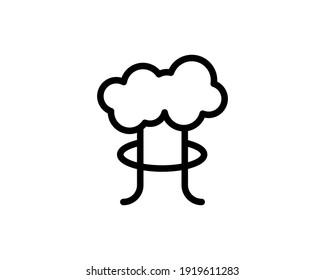 Mushroom cloud. Nuclear blast explosion smoke. Silhouette. Explosion icon. Atomic, Hiroshima radiation radioactive icon