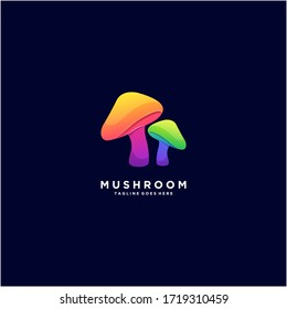 mushroom colorful abstract design logo template
