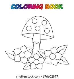 mushroom - coloring book. Game for kids.  Vector cartoon  illustration