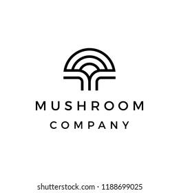 mushroom company  line art simple and modern logo design inspiration