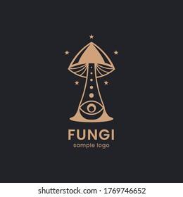 Mushroom farm organic logo food shop design. Fungi medicine agriculture symbol design on a black background. Vector illustration.