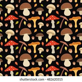 Mushroom flat illustration seamless vector  pattern. Isolated on black background